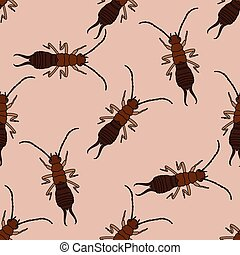 Seamless pattern with Earwig .Forficula auricularia....