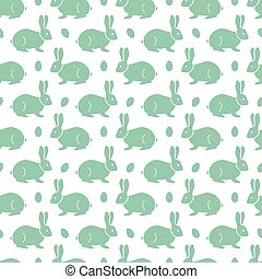 Seamless pattern with Easter Bunny, eggs.