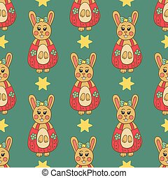 Seamless pattern with Easter bunny