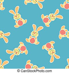 Seamless pattern with Easter eggs and bunnies. Vector