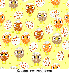 Seamless pattern with easter eggs and chickens