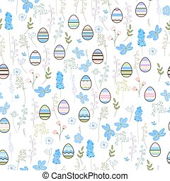 Seamless pattern with easter eggs and blue flowers. Endless terture for spring festive design