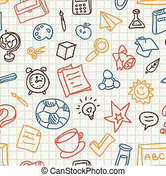 seamless pattern with education and school icons - Bright...