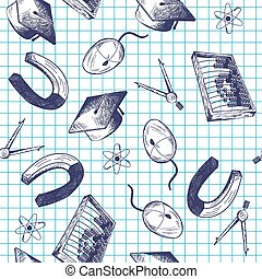 Seamless pattern with education theme