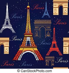 Seamless pattern with Eiffel tower and Triumphal arch