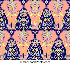 pattern with elephant and abstract flowers