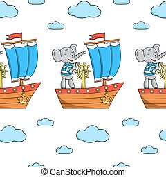 Seamless pattern with elephant on a ship.