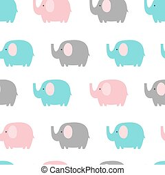 Seamless pattern with elephant on white background. Vector