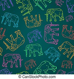 Seamless Pattern with Elephant Silhouettes