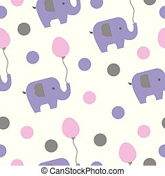 seamless pattern with elephants and balloons