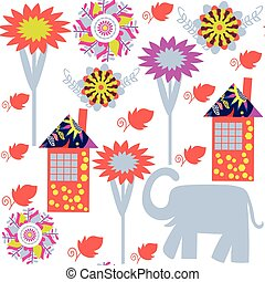 Seamless pattern with elephants and seamless pattern in swatch menu, vector illustration. Cute texture for design