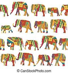 Seamless pattern with elephants in ethnic motifs