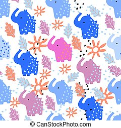 Seamless pattern with elephants on a white purple background.