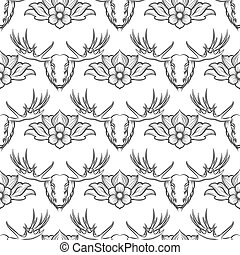 Seamless pattern with elk and flowers