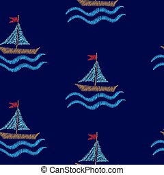 Seamless pattern with embroidery stitches imitation boat and wave illustration