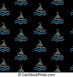 Seamless pattern with embroidery stitches imitation little boat and wave