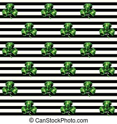 Seamless pattern with emerald clover and black stripes