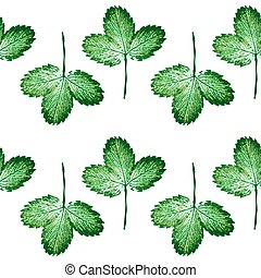 Seamless pattern with engraved strawberry leaves