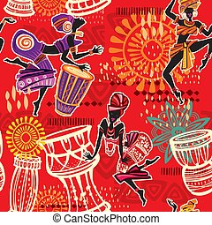 Seamless pattern with Ethnic background with African motifs