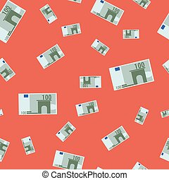Seamless pattern with euro banknote