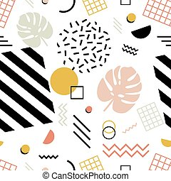 Seamless pattern with exotic monstera leaves, geometric shapes of various texture and zigzag lines on white background. Vector illustration in 1980s style for fabric print, wrapping paper.
