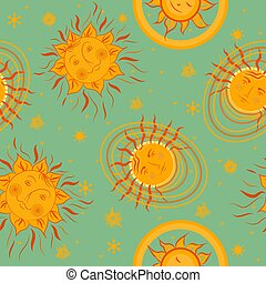 Seamless pattern with fabulous positive suns. Summer print for the beach, bags, swimsuits. Drawing for summer beach vacation. Vector
