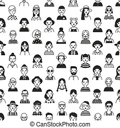 Seamless pattern with faces or heads of old and young people. Backdrop with fashionable men and women hand drawn with black contour lines on white background. Vector illustration in doodle style.