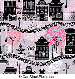 Seamless pattern with fairy tale houses, lanterns...