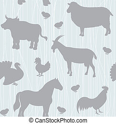 Seamless pattern with farm animals silhouettes