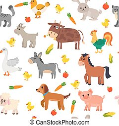 Seamless pattern with farm animals, vegetables and fruits. Cute background
