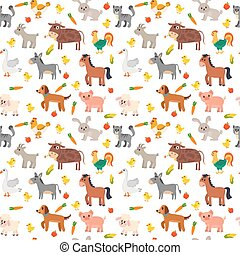 Seamless pattern with farm animals, vegetables and fruits. Cute farm background