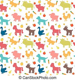Seamless pattern with farm animals, vegetables, leaves and fruits. Cute background