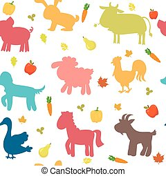 Seamless pattern with farm animals, vegetables, leaves and fruits.