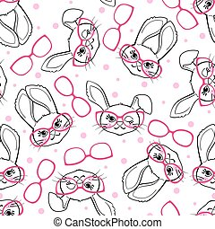 Seamless pattern with fashion bunny girl with glasses isolated on white background.