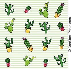 Seamless pattern with fashion patch badges. Pop art. Vector background stickers, pins, patches in cartoon 80s-90s comic style. Trend. Cactuses set.