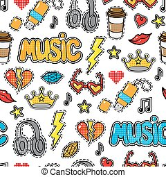 Seamless pattern with fashion patch badges, stickers in comic style