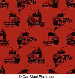 Seamless pattern with fast food combo dinners on burgundy background, vector illustration