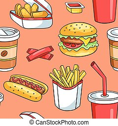 Seamless pattern with fast food