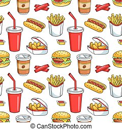 Seamless pattern with fast food. Vector sketch background. On the white.
