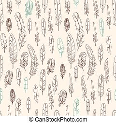 Seamless pattern with feathers,
