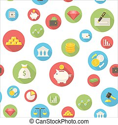 Seamless pattern with finance icons
