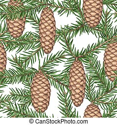Seamless pattern with fir branches and cones. Detailed...