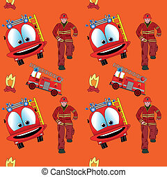 Seamless pattern with fire man and fire truck