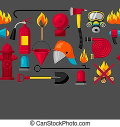 Seamless pattern with firefighting items. Fire protection equipment