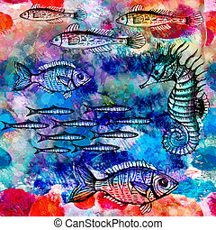 Seamless pattern with fish in sea. Vector, EPS 10
