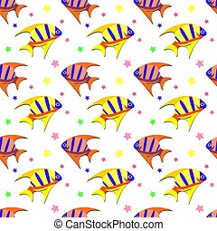 Seamless pattern with Fish. Vector illustration.