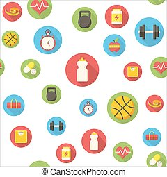Seamless pattern with fitness icons