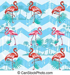 Seamless pattern with flamingoes