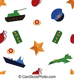 Seamless pattern with flat army, military objects