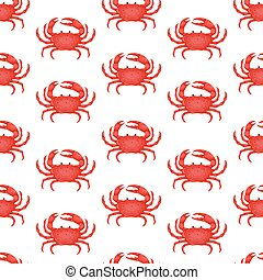 Seamless pattern with flat red crab isolated on white background - vector illustration. Sea water animal icon with claws. Seafood product design